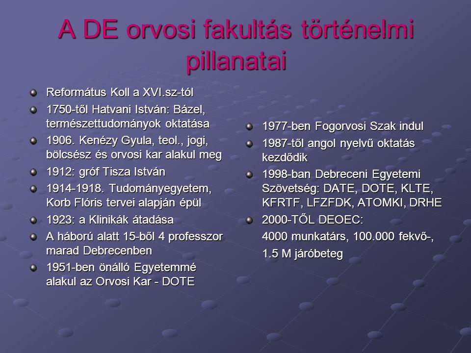 A DE orvosi fakultás történelmi pillanatai
