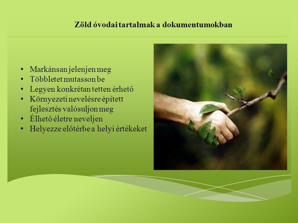 Zöld óvodai tartalmak a dokumentumokban
