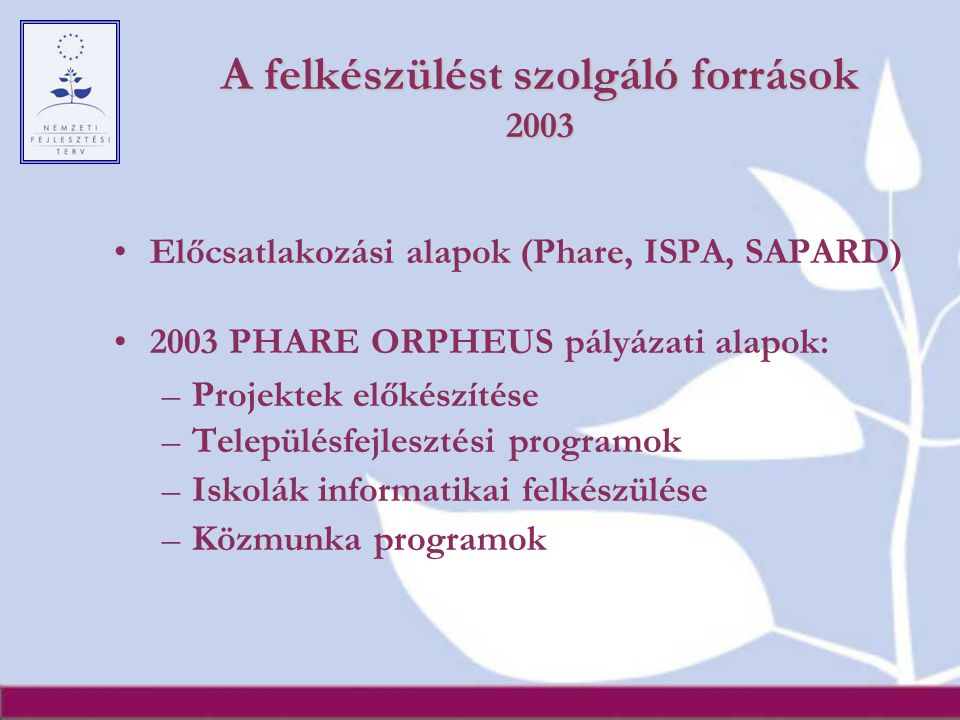 A felkészülést szolgáló források 2003