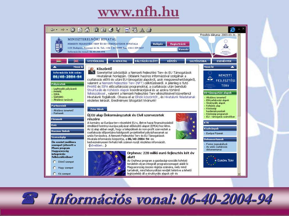  Információs vonal: 06-40-2004-94
