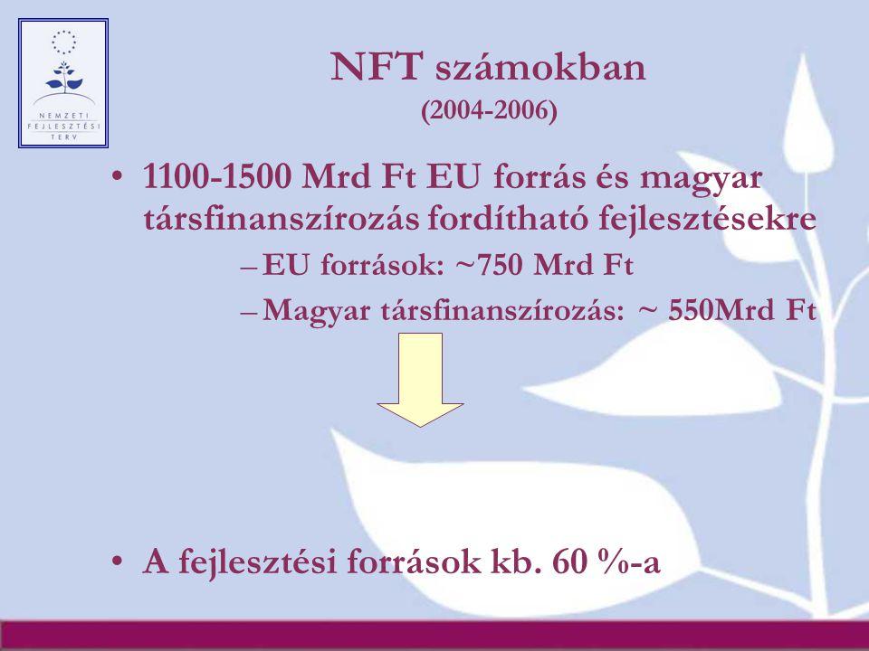 NFT számokban (2004-2006) 1100-1500 Mrd Ft EU forrás és magyar társfinanszírozás fordítható fejlesztésekre.