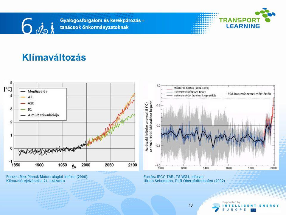 Klímaváltozás Forrás: Max Planck Meteorológiai Intézet (2006): Klíma-előrejelzések a 21. századra.