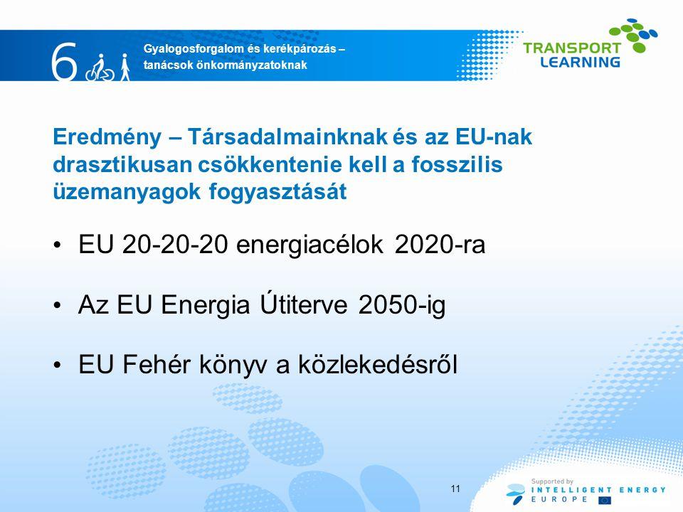 Az EU Energia Útiterve 2050-ig EU Fehér könyv a közlekedésről