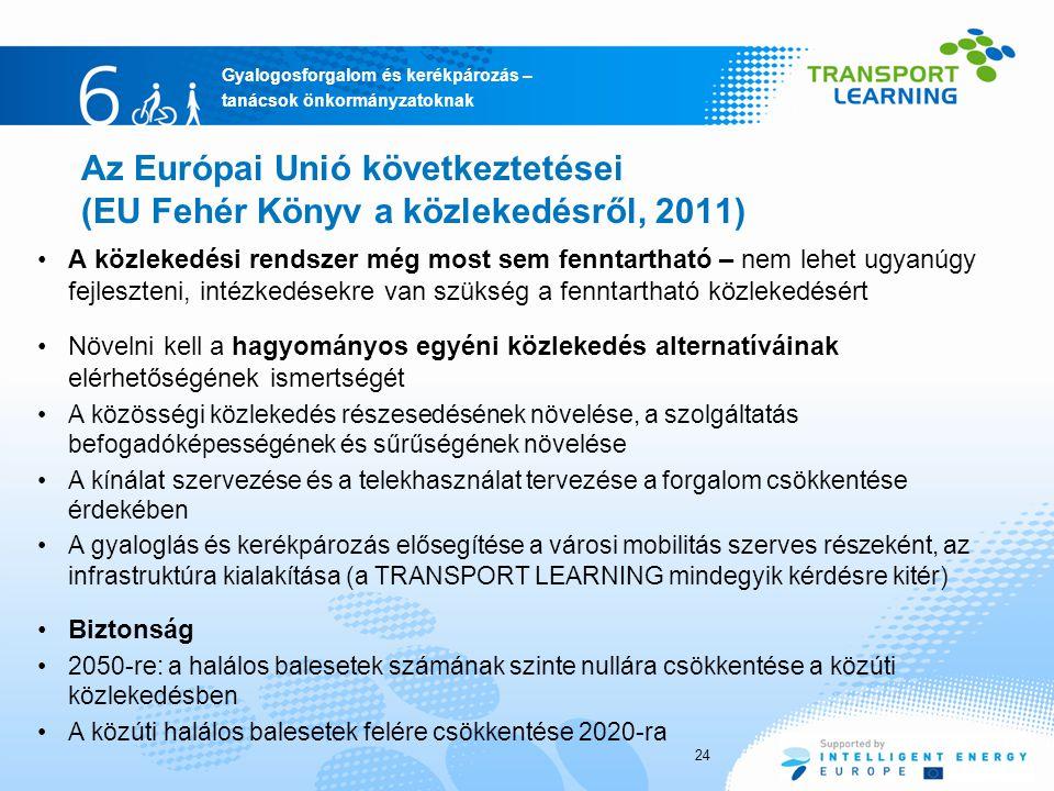 Az Európai Unió következtetései (EU Fehér Könyv a közlekedésről, 2011)