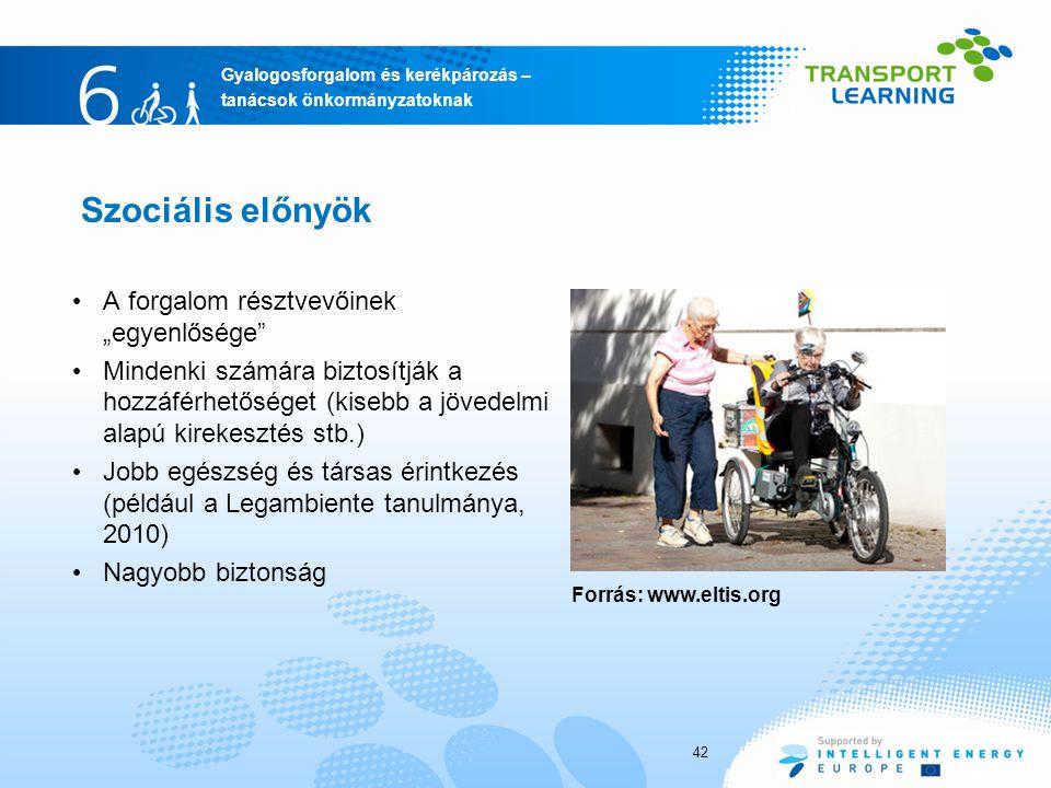 """Szociális előnyök A forgalom résztvevőinek """"egyenlősége"""