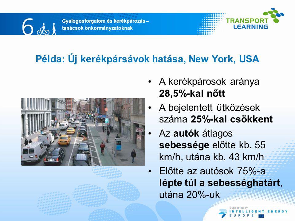 Példa: Új kerékpársávok hatása, New York, USA