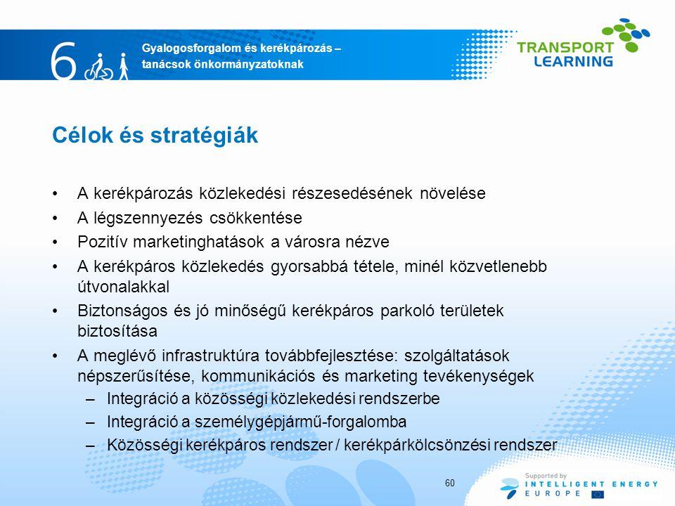 Célok és stratégiák A kerékpározás közlekedési részesedésének növelése
