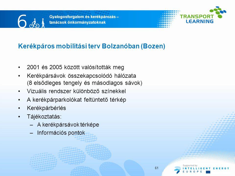 Kerékpáros mobilitási terv Bolzanóban (Bozen)