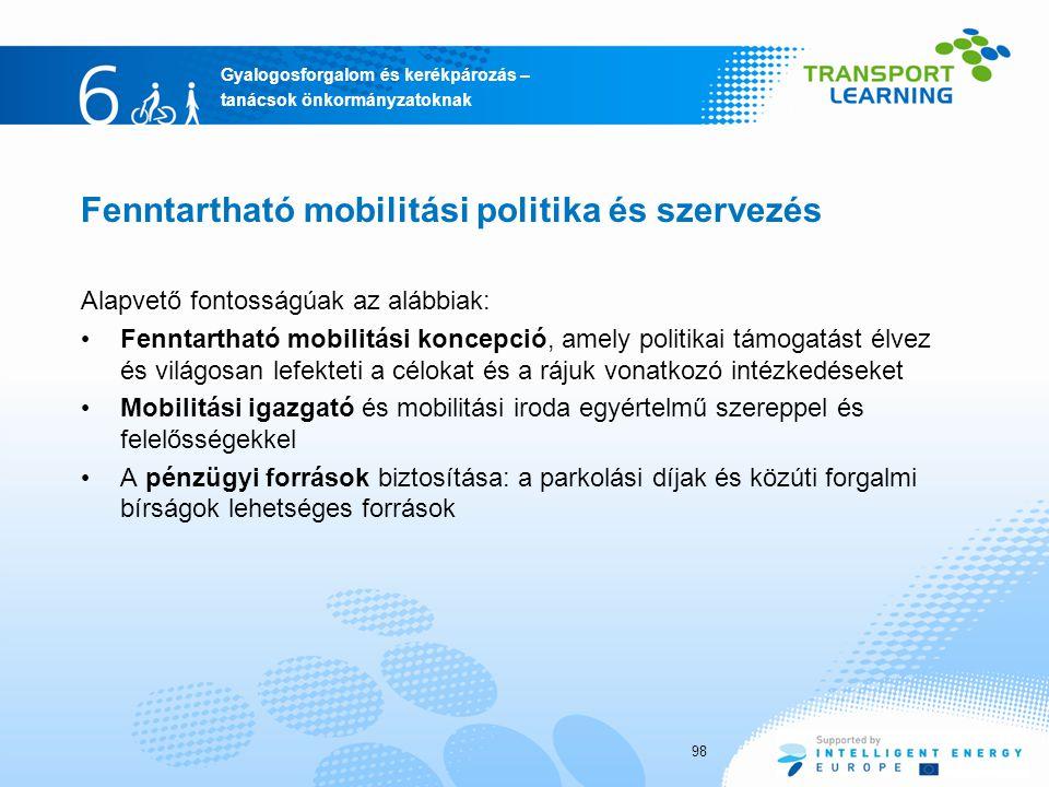 Fenntartható mobilitási politika és szervezés