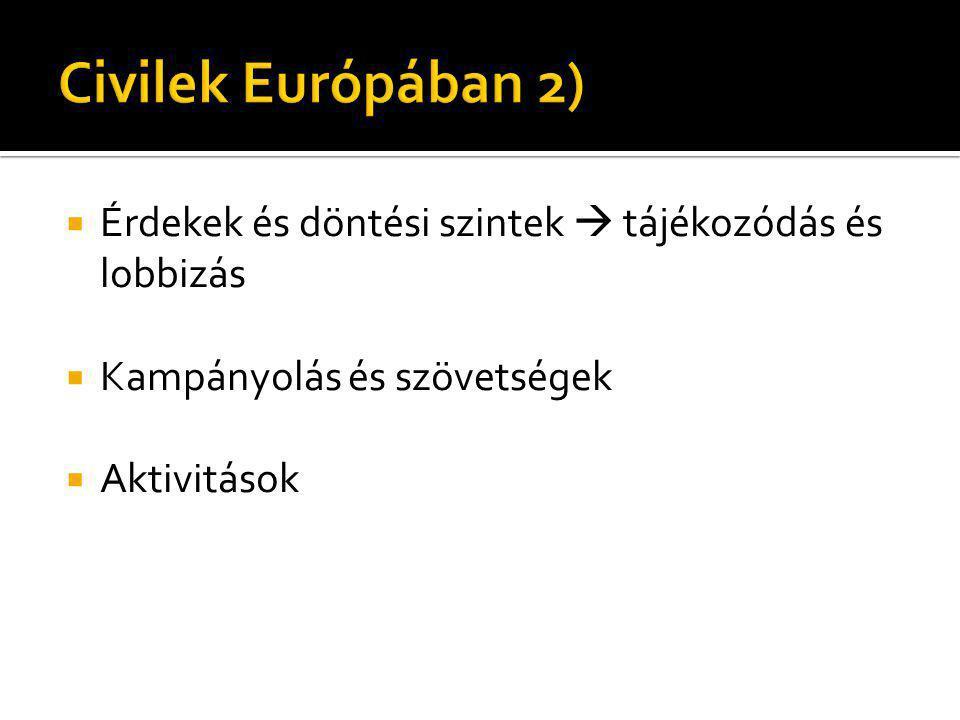 Civilek Európában 2) Érdekek és döntési szintek  tájékozódás és lobbizás. Kampányolás és szövetségek.