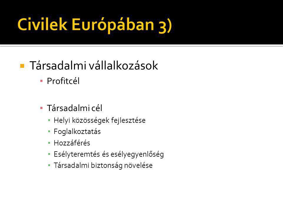 Civilek Európában 3) Társadalmi vállalkozások Profitcél Társadalmi cél