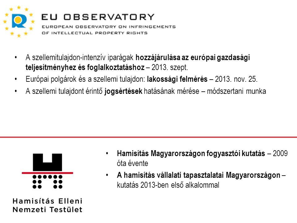 A szellemitulajdon-intenzív iparágak hozzájárulása az európai gazdasági teljesítményhez és foglalkoztatáshoz – 2013. szept.