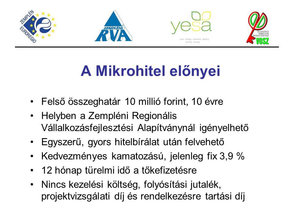 A Mikrohitel előnyei Felső összeghatár 10 millió forint, 10 évre
