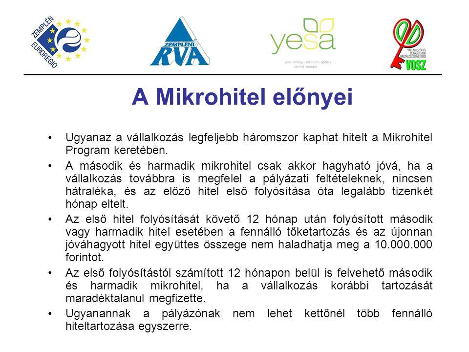 A Mikrohitel előnyei Ugyanaz a vállalkozás legfeljebb háromszor kaphat hitelt a Mikrohitel Program keretében.