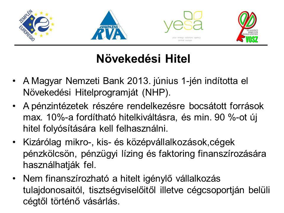 Növekedési Hitel A Magyar Nemzeti Bank 2013. június 1-jén indította el Növekedési Hitelprogramját (NHP).