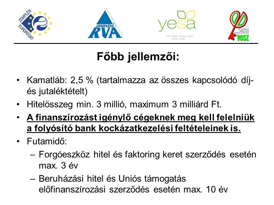 Főbb jellemzői: Kamatláb: 2,5 % (tartalmazza az összes kapcsolódó díj- és jutaléktételt) Hitelösszeg min. 3 millió, maximum 3 milliárd Ft.