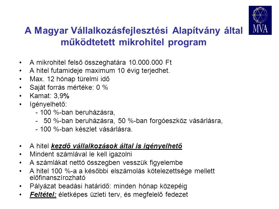 A Magyar Vállalkozásfejlesztési Alapítvány által működtetett mikrohitel program