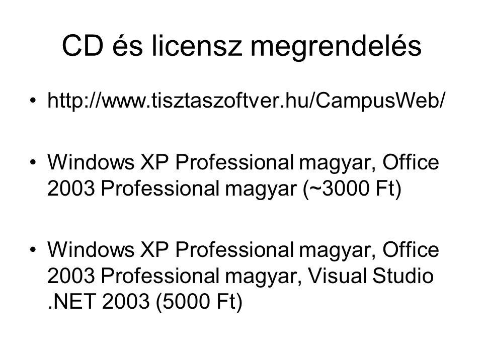 CD és licensz megrendelés