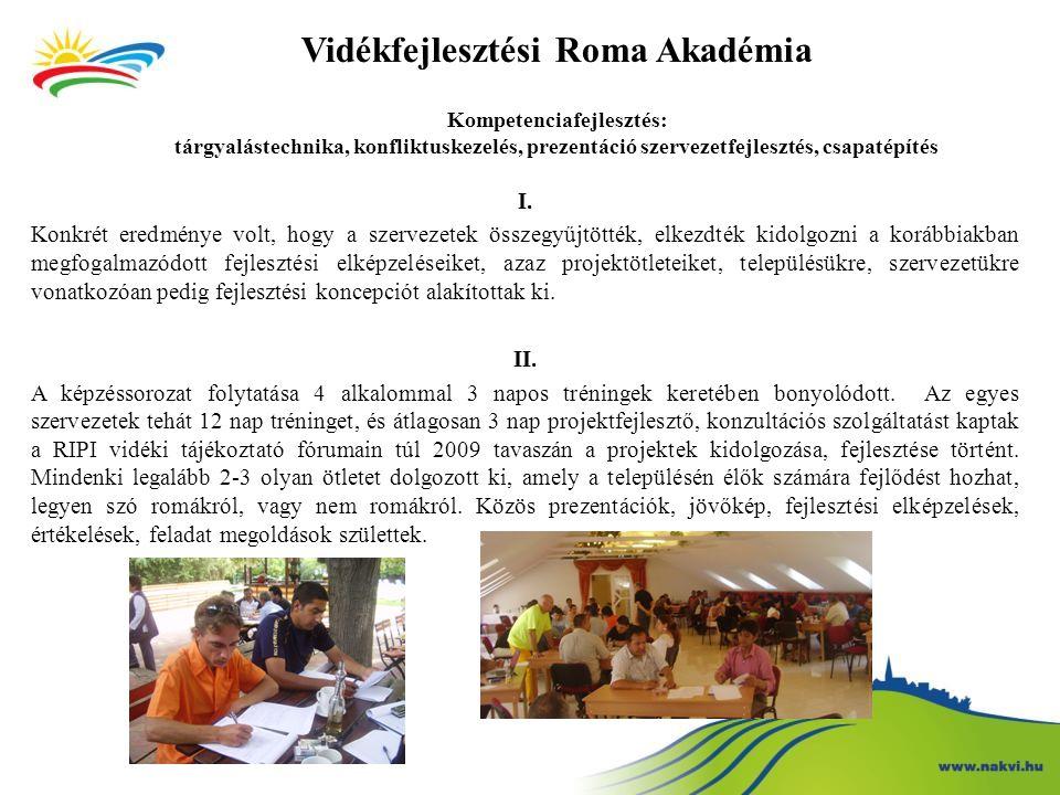 Vidékfejlesztési Roma Akadémia Kompetenciafejlesztés: tárgyalástechnika, konfliktuskezelés, prezentáció szervezetfejlesztés, csapatépítés