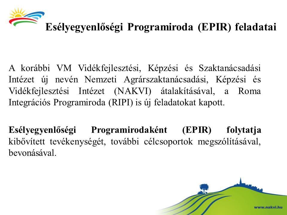 Esélyegyenlőségi Programiroda (EPIR) feladatai