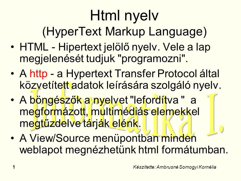 Html nyelv (HyperText Markup Language)