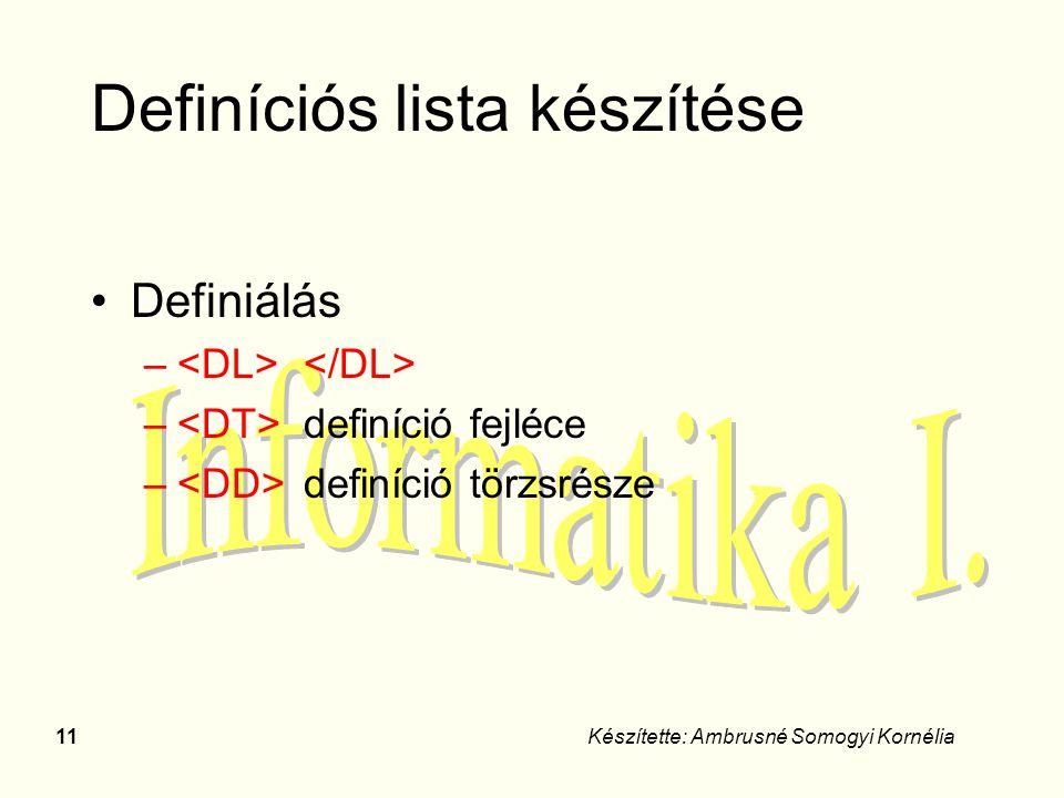 Definíciós lista készítése