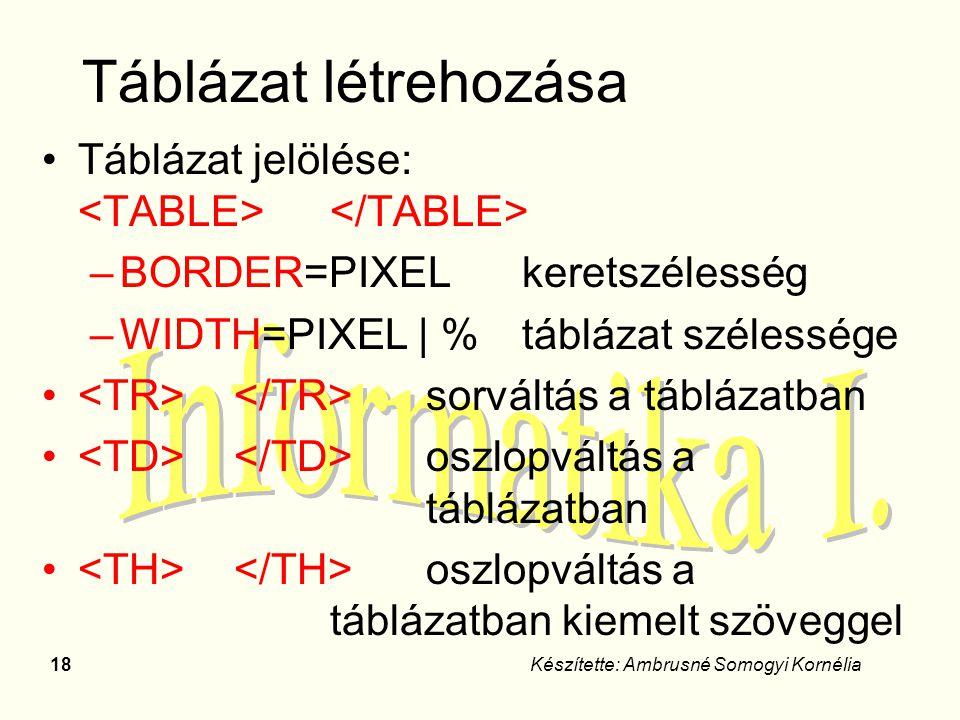 Táblázat létrehozása Táblázat jelölése: <TABLE> </TABLE>