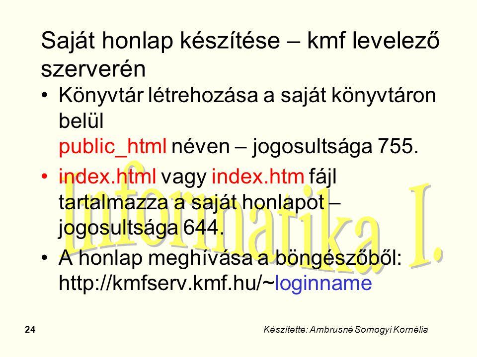 Saját honlap készítése – kmf levelező szerverén