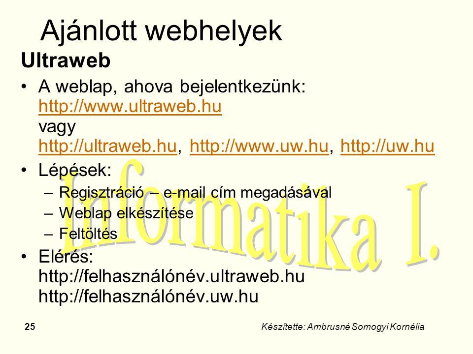 Ajánlott webhelyek Ultraweb