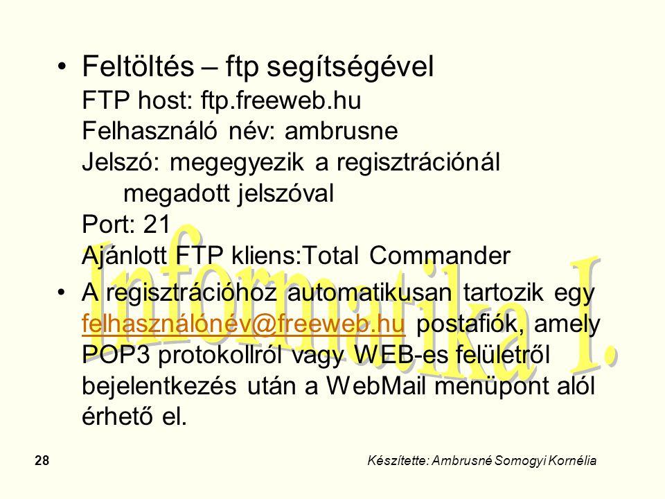 Feltöltés – ftp segítségével FTP host: ftp. freeweb