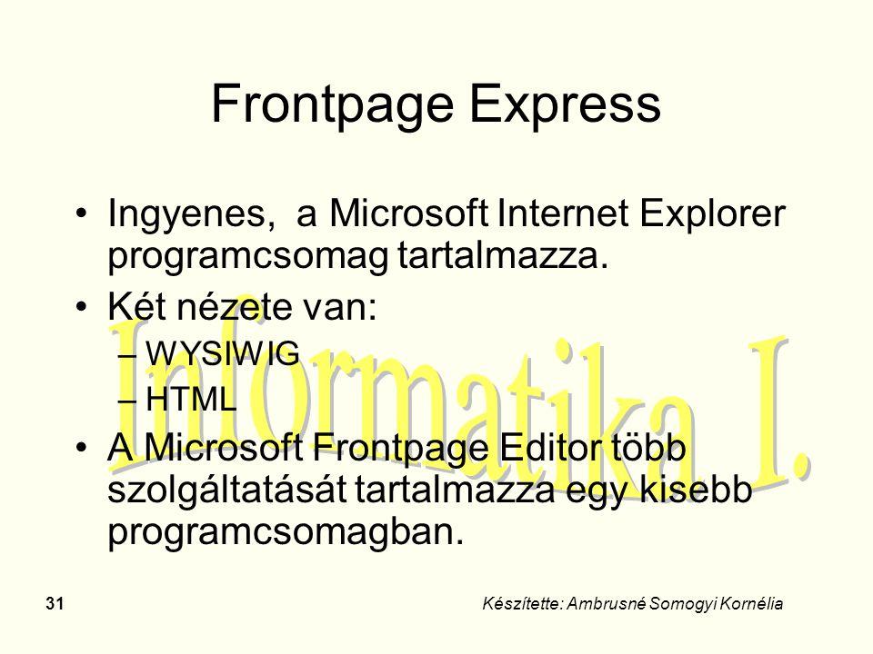 Frontpage Express Ingyenes, a Microsoft Internet Explorer programcsomag tartalmazza. Két nézete van: