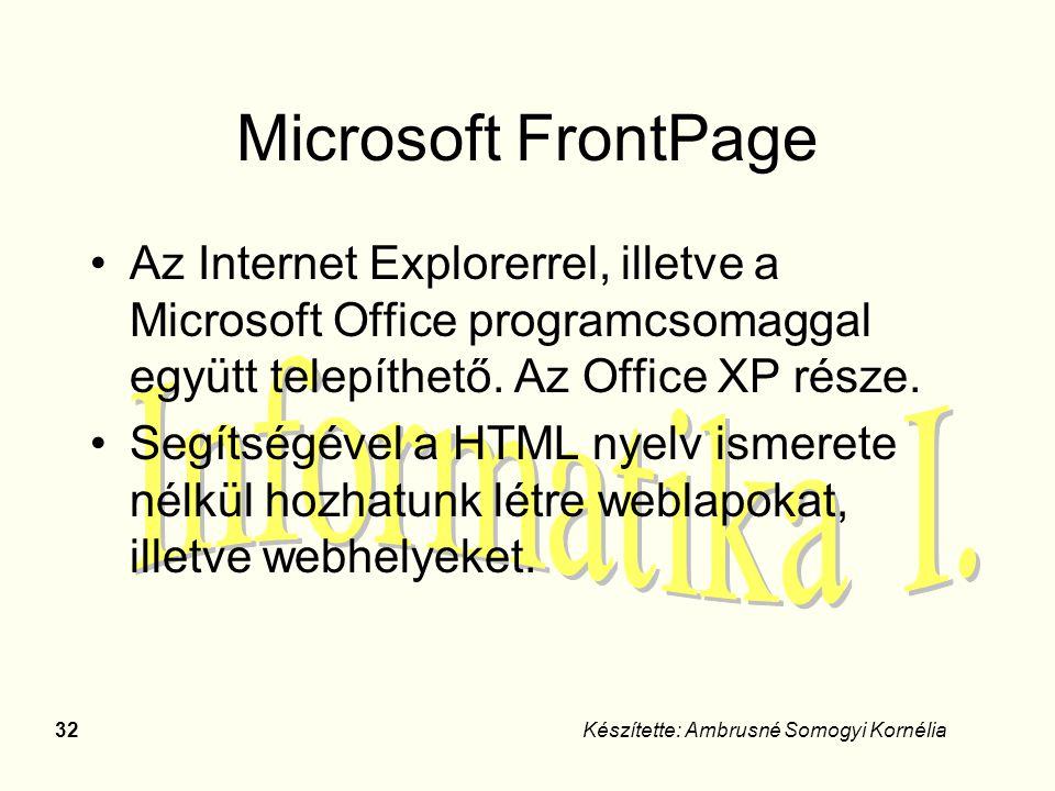 Microsoft FrontPage Az Internet Explorerrel, illetve a Microsoft Office programcsomaggal együtt telepíthető. Az Office XP része.