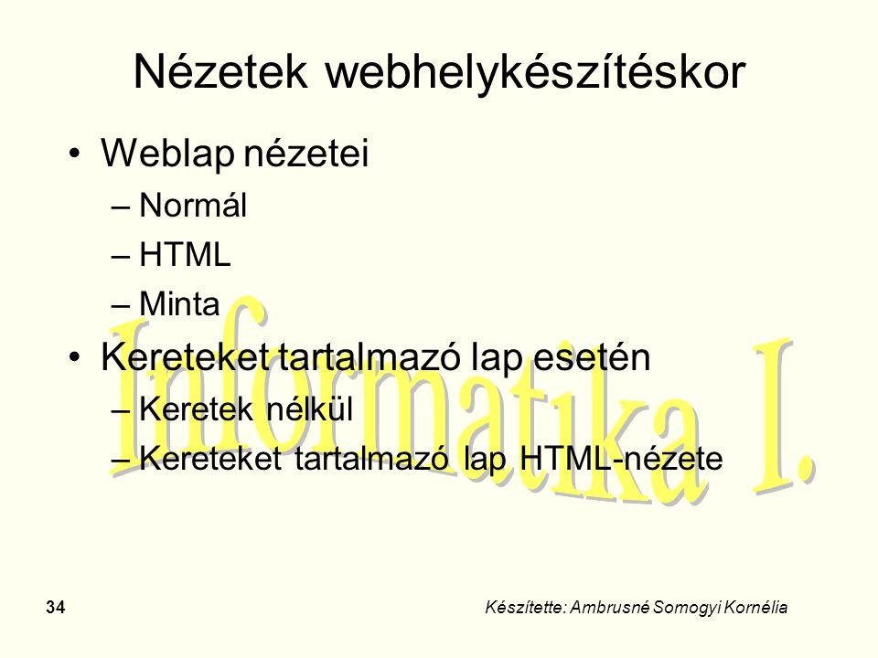 Nézetek webhelykészítéskor