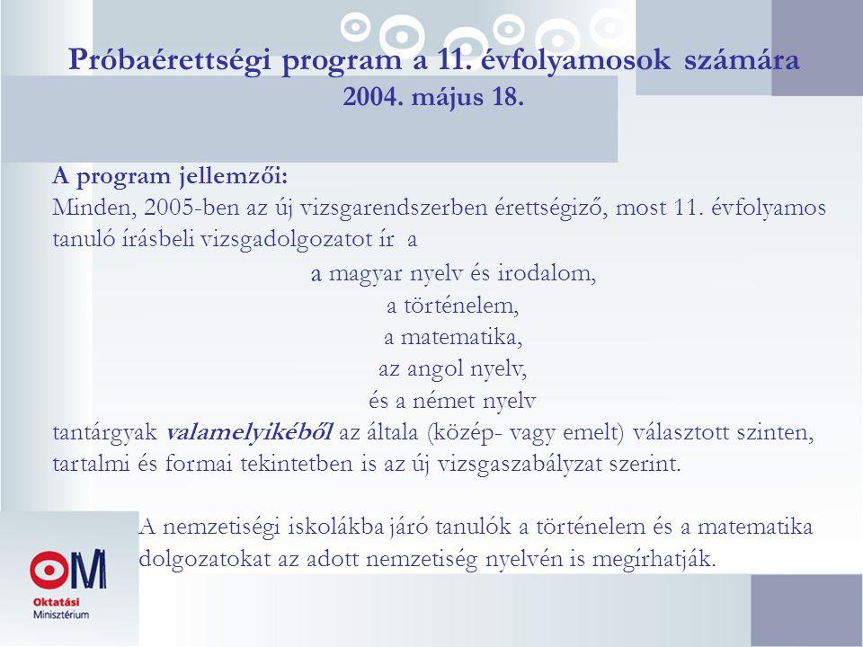 Próbaérettségi program a 11. évfolyamosok számára