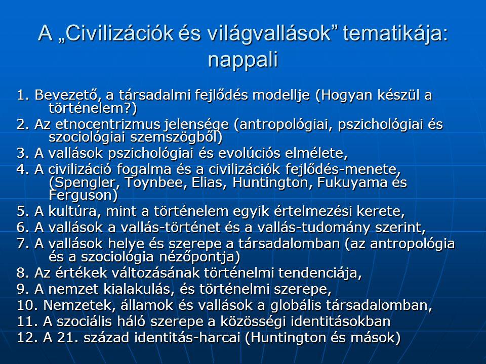 """A """"Civilizációk és világvallások tematikája: nappali"""