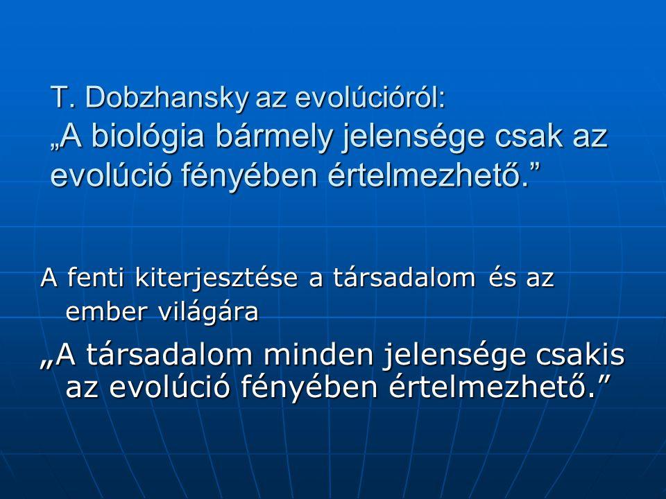 """T. Dobzhansky az evolúcióról: """"A biológia bármely jelensége csak az evolúció fényében értelmezhető."""