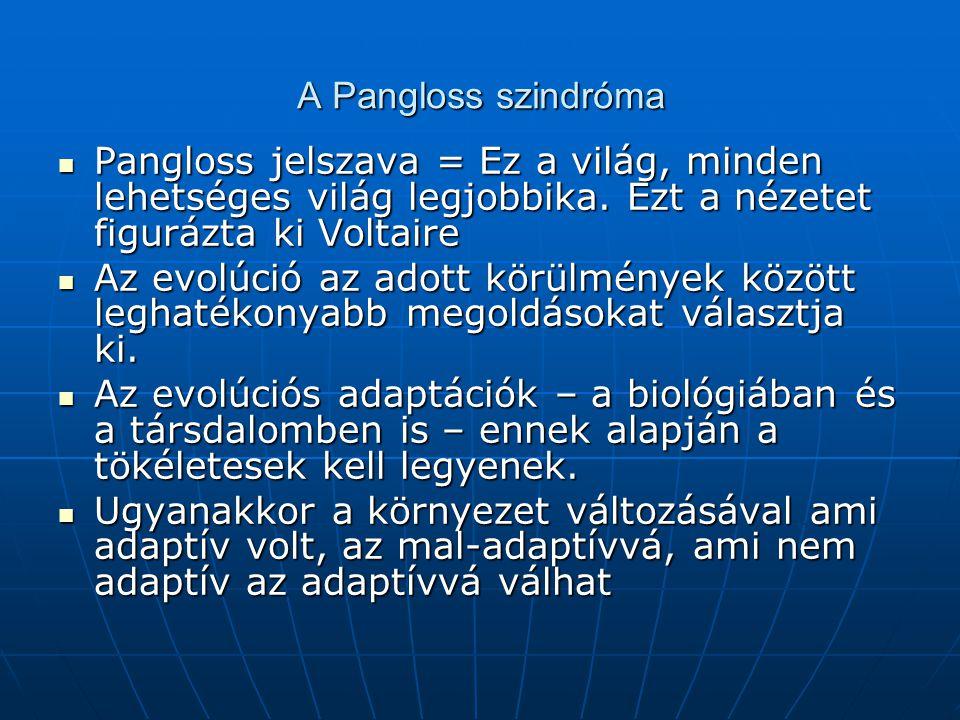 A Pangloss szindróma Pangloss jelszava = Ez a világ, minden lehetséges világ legjobbika. Ezt a nézetet figurázta ki Voltaire.
