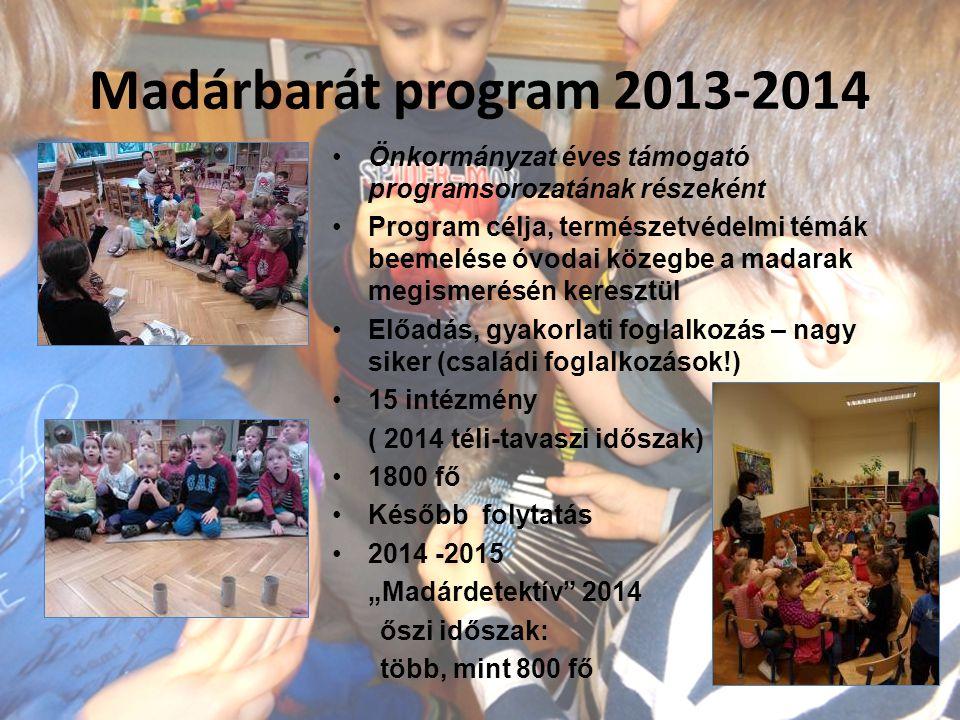 Madárbarát program 2013-2014 Önkormányzat éves támogató programsorozatának részeként.