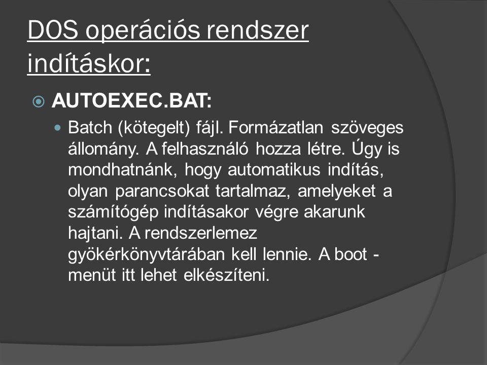 DOS operációs rendszer indításkor: