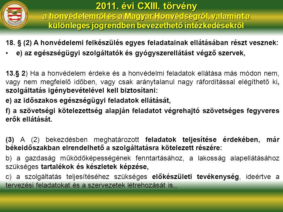 2011. évi CXIII. törvény a honvédelemről és a Magyar Honvédségről, valamint a különleges jogrendben bevezethető intézkedésekről