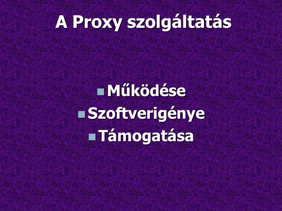 A Proxy szolgáltatás Működése Szoftverigénye Támogatása