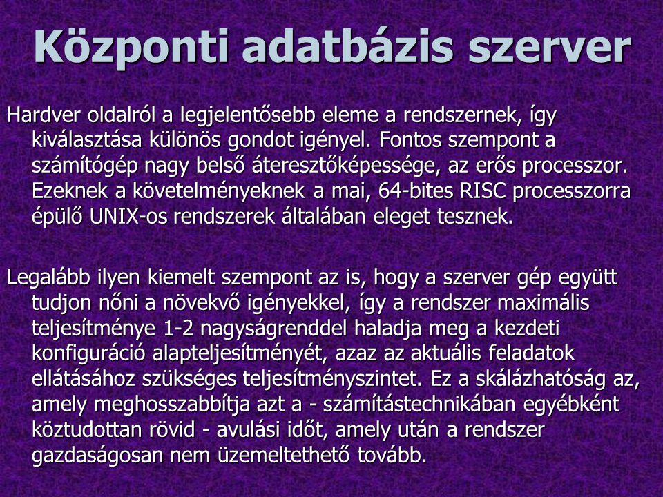 Központi adatbázis szerver