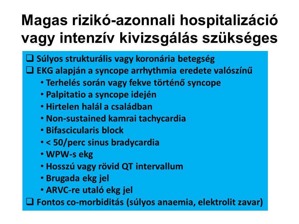 Magas rizikó-azonnali hospitalizáció vagy intenzív kivizsgálás szükséges