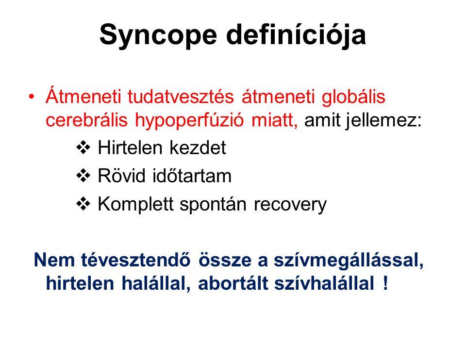 Syncope definíciója Átmeneti tudatvesztés átmeneti globális cerebrális hypoperfúzió miatt, amit jellemez: