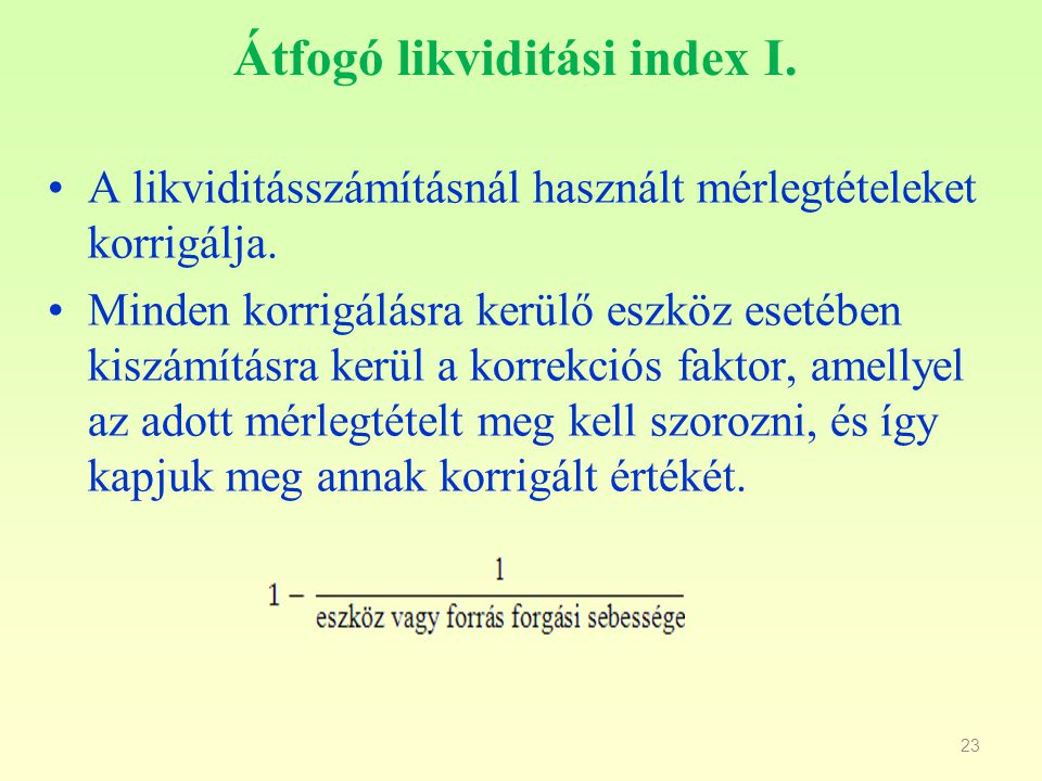 Átfogó likviditási index I.