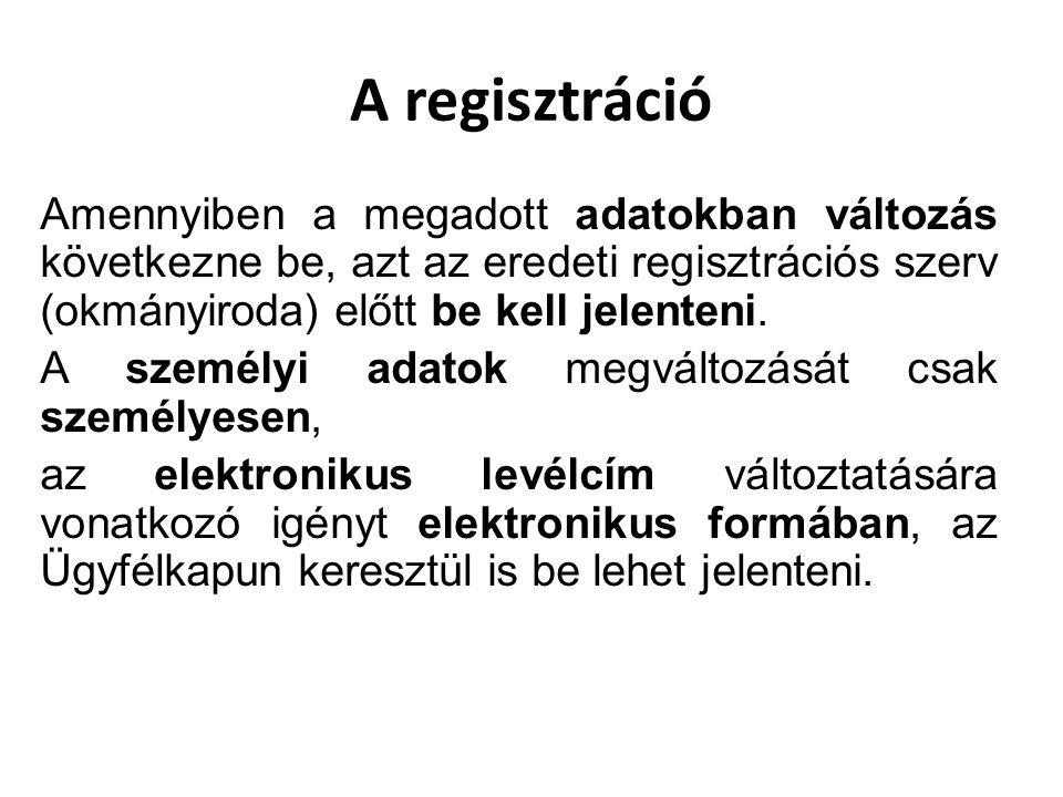 A regisztráció