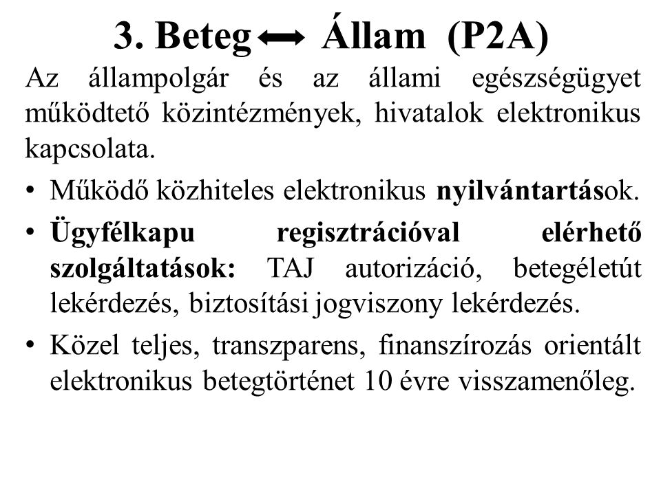 3. Beteg Állam (P2A) Az állampolgár és az állami egészségügyet működtető közintézmények, hivatalok elektronikus kapcsolata.