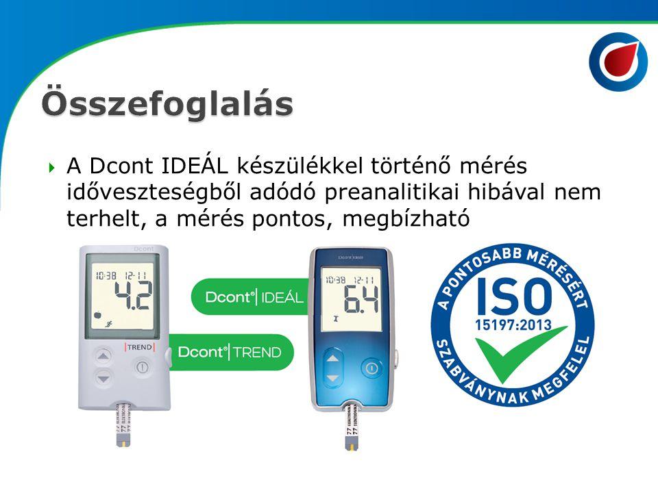 Összefoglalás A Dcont IDEÁL készülékkel történő mérés időveszteségből adódó preanalitikai hibával nem terhelt, a mérés pontos, megbízható.