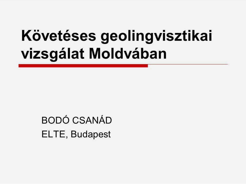 Követéses geolingvisztikai vizsgálat Moldvában