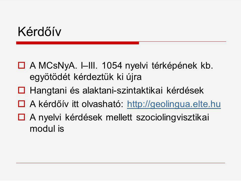 Kérdőív A MCsNyA. I–III. 1054 nyelvi térképének kb. egyötödét kérdeztük ki újra. Hangtani és alaktani-szintaktikai kérdések.